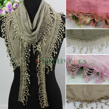 Fashion Womens Lace Tassel Solid Triangle Scarf Shawl Wrap Soft Ladies Scarf New