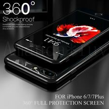 Hybrid 360° Full Acrylic Hard Case Cover For iPhone 6 6s 7 Plus + Tempered Glass