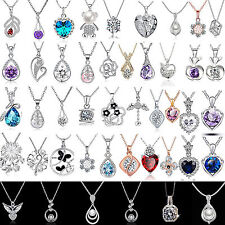 Newest Women Jewelry 925 Sterling Silver P Charm Necklace Pendant Clavicle Chain