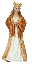 GIRLS MEDIEVAL TUDOR COSTUME GOLDEN XMAS QUEEN FANCY DRESS OUTFIT AGE 4-6-9-11