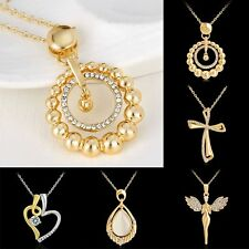 Fashion Gold Plated Crystal Rhinestone Heart Hollow Angel Cross Pendant Necklace