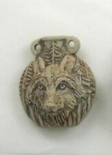 Ceramic Pottery Bottle or Vessel, High Fired Wolf Design