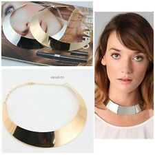 New Metal Chic Punk Style Curved Mirrored Choker Polished Bib Slim Necklace EA01
