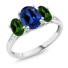 10K White Gold 2.50Ct Blue Simulated Sapphire Green Chrome Diopside 3-Stone Ring