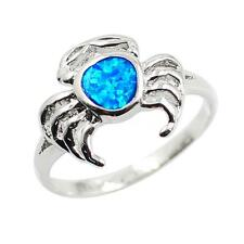 Lovely Crab Style Blue Fire Opal 925 Sterling Silver Ring Gift Size 6/7/8/9 E0O9