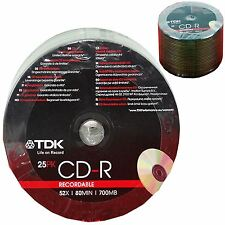 CD-R Recordable CD Discs 80 MINS 52X 700MB Blank Disk Media TDK
