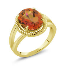 3.60 Ct Oval Twilight Orange Mystic Quartz 18K Yellow Gold Plated Silver Ring