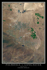 Palmdale Lancaster California From Space Satellite Poster Map