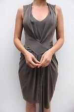 Karen Millen Bronze Draped Jersey Smart Modern Evening Cocktail Dress 12 40 New