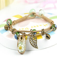Charm Woven Braided Ceramic Beads Rope Bracelet Leaf Wristband Button Bangle