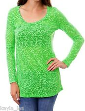 Green Zebra 2-Tone Burnout Sheer/Semi Long Sleeve Tee Top