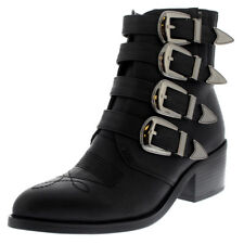 Womens Strappy Rock Combat Retro Military Fashion Punk Army Ankle Boots US 5-12