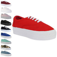 59D WOMENS CASUAL CANVAS LADIES PLATFORM TRAINERS CREEPERS PUMPS SHOES SIZE 3-8