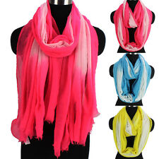 Fashion Womens Gradient Color Polyester Long Shawl/Infinity Scarf Ladies Scarves
