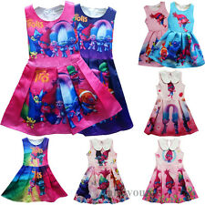 Fashion Kids Trolls Poppy Dress Costume Princess Girls Party Fancy Dresses 2-10Y