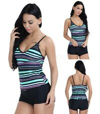 Women 2Pcs Sport Swimwear Set Beach Bathing Suit Tankini Top+Boy Leg Shorts Surf
