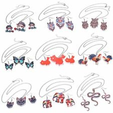 Fashion Printing Animal Horse Owl Butterfly Necklace Earrings Set Women Jewelry