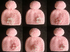 Hand Knitted Cute Pink Flower Baby Bobble Pompom Hat - Premature to 0-3 mth