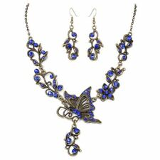 Rhinestone Butterfly necklace earrings Plated bronze Set