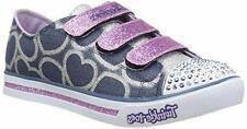 Girl's Youth SKECHERS TWINKLE TOES 10709 Blue Denim Hearts LIGHTS Shoes NEW