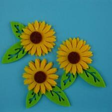 3 Sunflower Leaf Floral Nature Sew on Embroidered Badge Patch Craft Cute Motif
