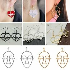 Women Charm Heart Electrocardiogram Hollow Face Drop Earrings Statement Jewelry