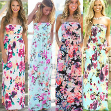 Womens Bandeau Holiday Long Dress Ladies Summer Floral Maxi Dress Size 6 - 14