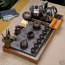 complete tea set induction cooker black stone tea tray real yixing zisha tea set