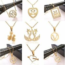 Fashion Swan Bat Pendant Necklace Stainless Steel Chain Women Jewelry Gift Party