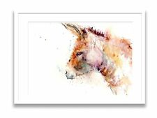 JEN BUCKLEY signed LIMITED EDITON PRINT of original little DONKEY watercolour