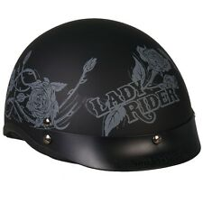 Lady Rider Shorty Half Motorcycle Helmet DOT Approved Black & GREY Scooter Biker