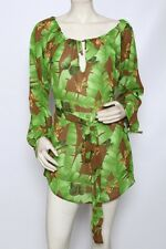 Cia Maritima Green Butterfly Tunic Swimsuit Cover Up Belted Dress Sz S M NWT