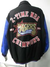 76ers Mens X-Large and 3X-Large 2 Time NBA Champions Wool Leather Jacket PHS 10