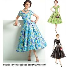 VOGUE VTG 50s RETRO SEWING PATTERN MISS PIN UP DRESS ROCKABILLY PARTY DRESS 6-22