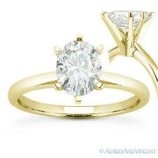 Forever ONE D-E-F Oval Cut Moissanite 14k Yellow Gold Solitaire Engagement Ring