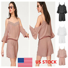 Womens Lady Lace Sling Solid Off Shoulder Flared Sleeve Jumpsuit Rompers US SHIP
