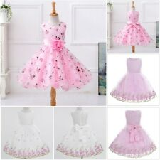 Girls Floral Dress Kids Party Dresses Age 2-12 Years Wedding Bow Princess Dress