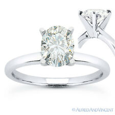 Forever ONE D-E-F Oval Cut Moissanite 14k White Gold Solitaire Engagement Ring