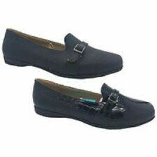 Ladies Shoes Grosby Cara Black/Croc Dress Loafers Slip On Flats Size 6-11 New