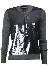 Sutton Studio Women's Sequin Front 100% Cashmere Cardigan