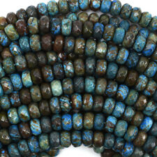 """Faceted Brown Blue Turquoise Rondelle Beads Gemstone 15.5"""" Strand 6mm 8mm 10mm"""