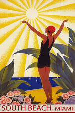 SOUTH BEACH MIAMI SUNSHINE GIRL SALUTING SUN SAILING TRAVEL VINTAGE POSTER REPRO