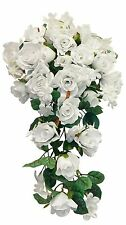 Bridal Cascade Bouquet ~ MANY COLORS ~ Silk Wedding Flowers Roses Side Arch