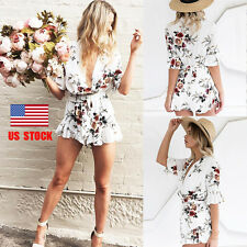 Women Deep V Neck Floral Party Beach Mini Short Dress Romper Playsuit Jumpsuit