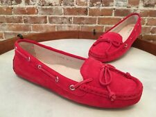 All Black Shoe Brand Red Suede Bow Slip on Driving Moccasin NEW
