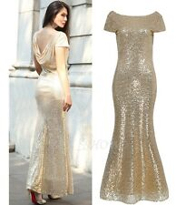 Formal Gold Sequins Backless Mermaid Gown Prom Ball Long Evening Dress Wedding