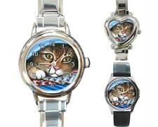 Italian Charm or Metal Watch Square Round Cat 258 art painting L.Dumas