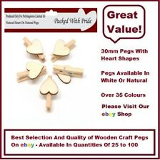 NATURAL PEGS WITH NATURAL HEARTS - 30mm Small Wooden Craft Pegs - Wedding