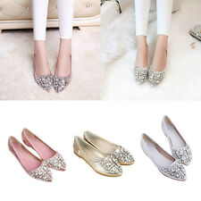 Women's Pointed Toe Flats Shiny Diamond Bridal Dress Wedding Comfy Ballet Shoes