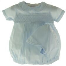 NWT Newborn Boys Blue Smocked Bubble Take Home Outfit- Petit Ami Baby Clothes